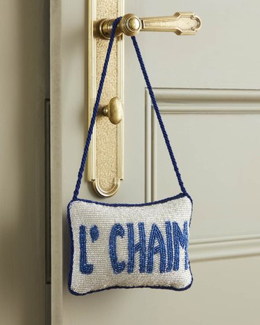 Beaded L'chaim sign for door