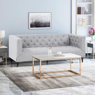Light grey tuxedo sofa
