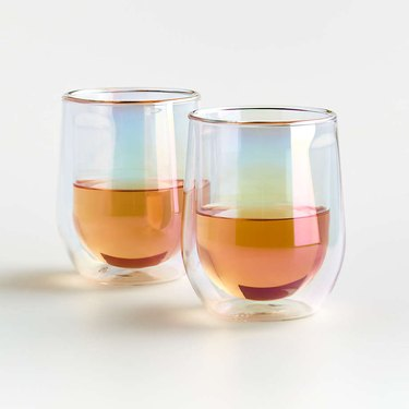 two stemless wine glasses