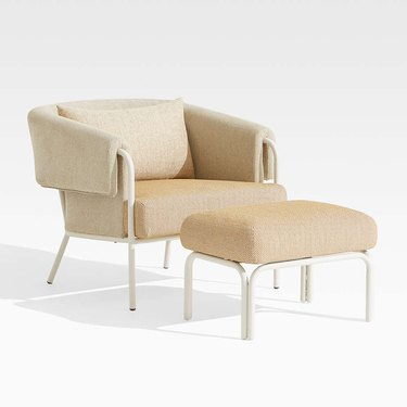 beige lounge chair with ottoman
