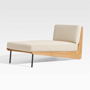 angular teak chaise