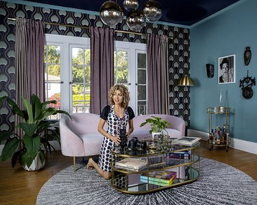 Monica Orozco in her Hollywood Regency–inspired living room