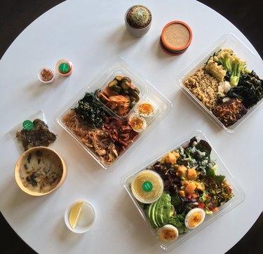goop kitchen banchan bowl, gp's cobb, spring salmon bowl, japanese sweet potato soup
