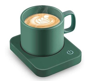 green mug and warming disc