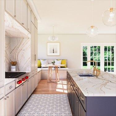 modern kitchen with engineered stone details