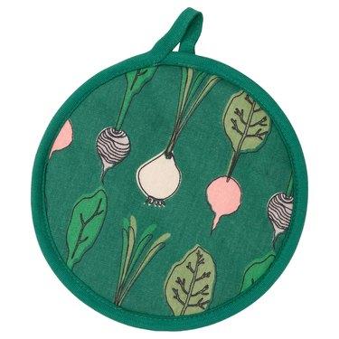 pot holder in green vegetable pattern