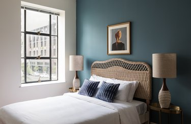 blue wall color painted bedroom