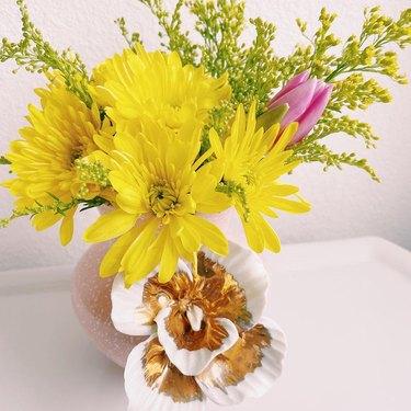 yellow and pink trader joe's flower arrangement