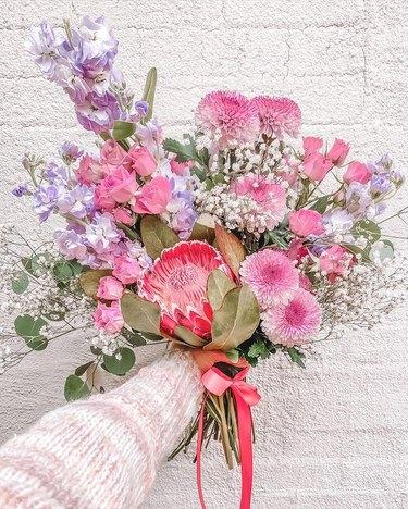 pink and purple trader joe's flower arrangement