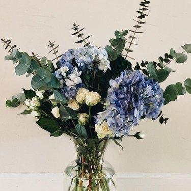 blue trader joe's flower arrangement