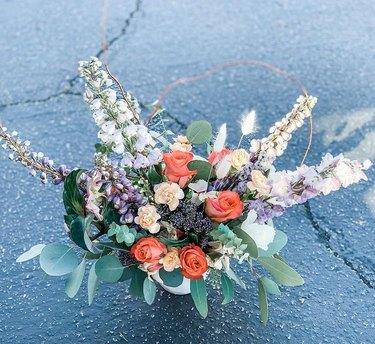 orange, white, and purple trader joe's flower arrangement