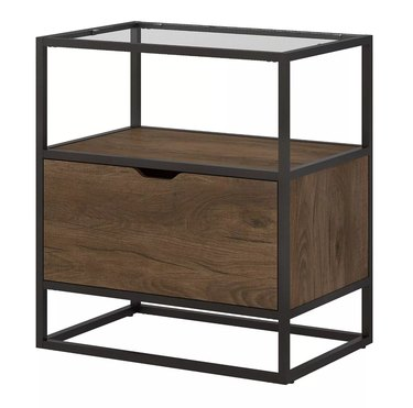 rustic file cabinet in wood and metal detailing with glass top