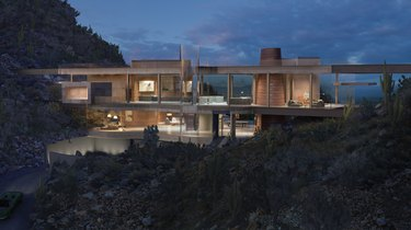 contemporary home in desert at night