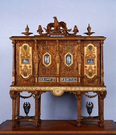 A 1787 Dugourc jewelry cabinet featuring the monograms of Louis XVI and Marie Antoinette
