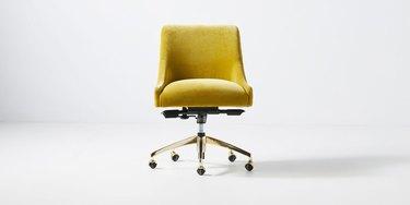 mustard yellow velvet swivel office chair