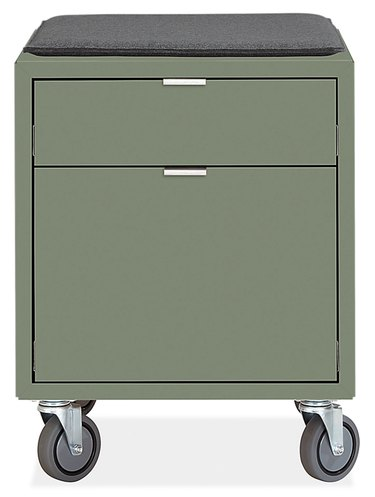 file cabinet in sage green with casters and cushion