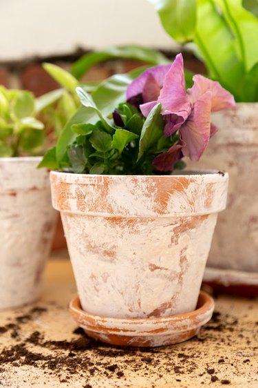 how to make DIY aged terra cotta pots