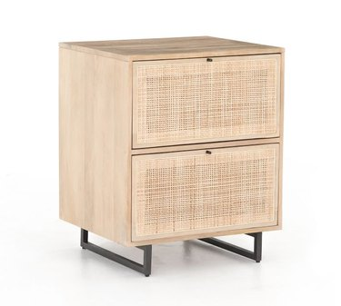 cane and mango wood file cabinet with black legs