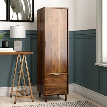 wood vertical file cabinet in classic office