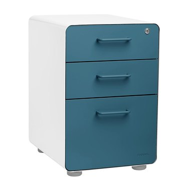 blue and white modern file cabinet with lockable drawer