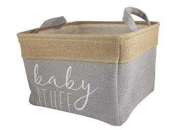 """Baby Stuff"" Burlap and Grey Linen Storage Bin"