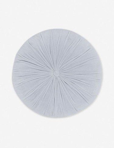 light blue round velvet pillow