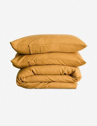 mustard yellow folded duvet set