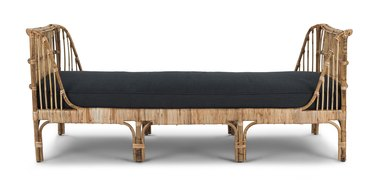 rattan daybed with black cushions