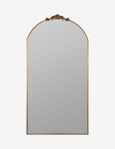 crown top arched floor mirror