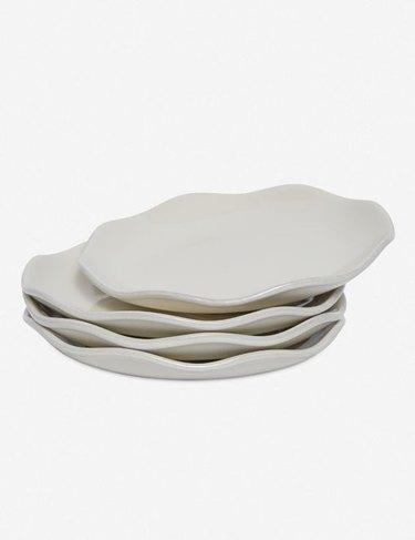 wavy edge stacked salad plates