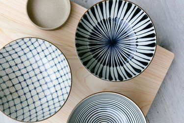 overhead view of dishes in various patterns and colors