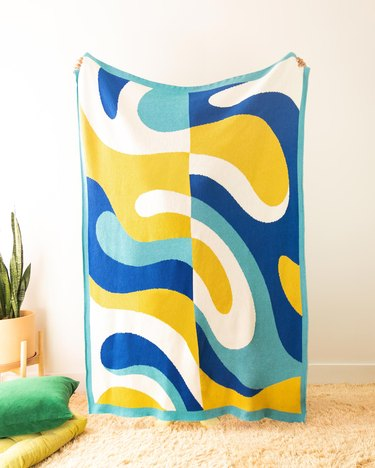 blanket with colorful pattern