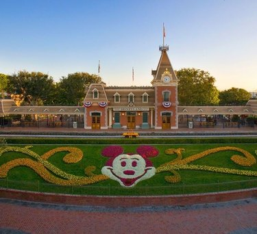 disneyland sign with mickey mouse garden