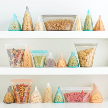 food storage bags with food on shelves