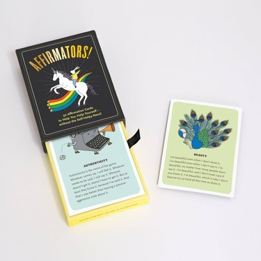 black affirmations box and card