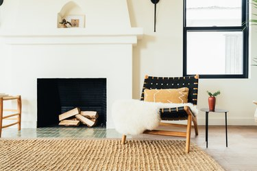 Scandi-style living room with black and wood chair