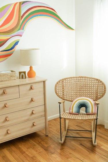 Rattan rocking chair in nursery