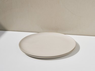 taupe full plates stacked