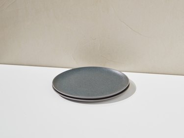 blue gray half plates stacked