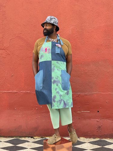 tie-dye canvas denim apron from bloom and plume