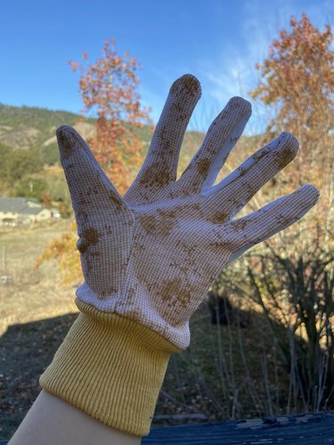 yellow floral gardening gloves from etsy
