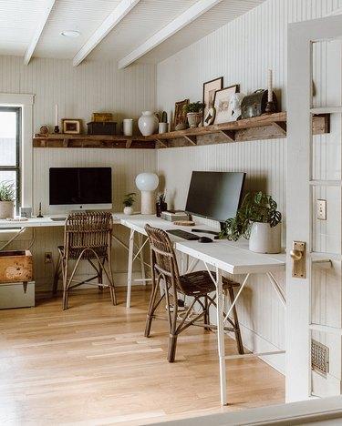wood vintage wall shelving in neutral vintage office