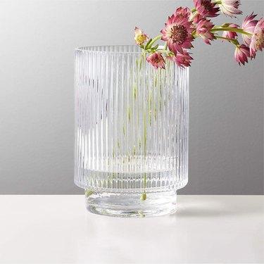 fluted glass vase