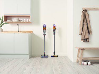 Dyson vacuums in kitchen
