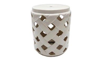 W Home Stonington Ceramic Lattice Accent Table