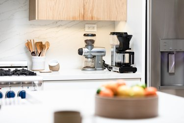 Kitchen countertop with appliances and utensils