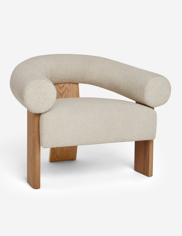 boucle accent chair with wood legs