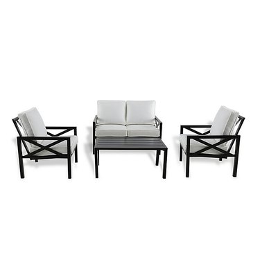 W Home Stonington 4-Piece Metal Cushioned Chat Set