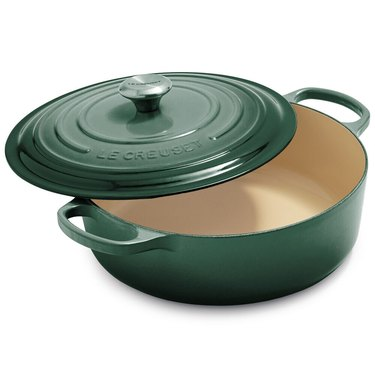 Le Creuset green dutch oven with lid