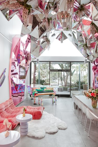 lounge with mirrored art installation